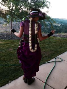 The back of my Steampunk Rapunzel costume for a friend's Cosplay birthday party! Completely from scratch, I made everything by hand. Original design.