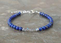 Labradorite Bracelet, Lapis Stone Bracelet, Gemstone Bracelet, Delicate Bracelet for Women, Tiny Dainty Bracelet for Her, Blue Bracelet by lelizabethjewelry on Etsy https://www.etsy.com/listing/570101926/labradorite-bracelet-lapis-stone