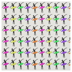 Neon Ballerinas Silhouette Ballet Dancer Fabric