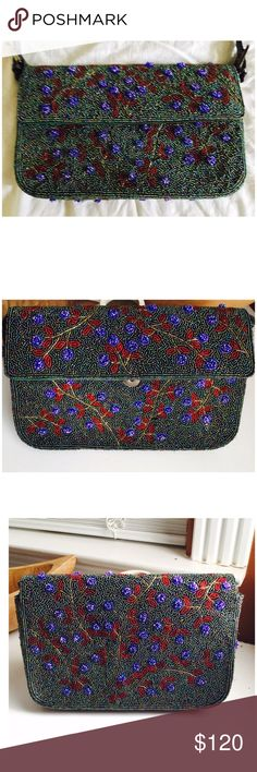 "Amazing gorgeous beaded baguette shoulder bag This bag is a piece of art. Handbeaded, all beads in place meticulously crafted. It can double as a clutch. Dim: 10"" x 7"" x 2 w - 25"" strap length total. Very fendi like with cherry 🍒 hues all over - Lined with a zip pocket inside - gorgeous! Make me an offer! Zara Bags"