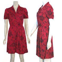 Vintage 1970s Rose Print Dress Ruched Sleeves  #Unbranded