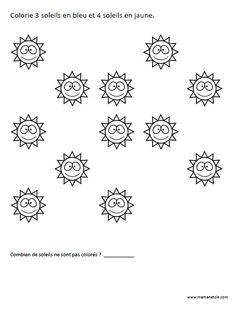 Colorie 3 soleils en bleu et 4 soleils en jaune - Activité à imprimer - prescolaire