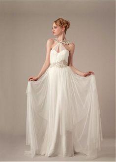 Amazing Glamorous Tulle & Satin Sheath Halter Neckline Raised Waistline Wedding Dress