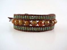 how to make a three row leather bead bracelet - Google Search