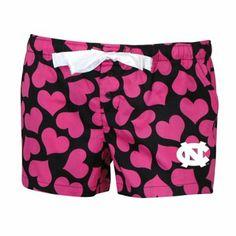 North Carolina Tar Heels (UNC) Ladies Charmed Hearts Sleep Shorts