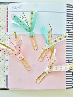 Planner Clip Pink, Teal, Gold on large gold paper clip for organizers, planners, life planners, filofax, kikki k