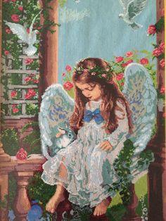 Completed cross stitch Framed cross stitch Handmade embroidery-Angel. #Handmade #CrossStitch