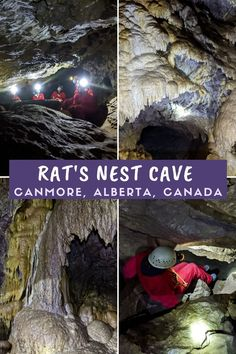 One of the largest cave systems in Canada is located in nearby Canmore, just 20 minutes drive east of Banff. Click here to discover everything you need to know about exploring Rat's Nest Cave with Canmore Cave Tours! offtracktravel.ca Cave Tours, Underground World, Canadian Travel, Banff, Cool Places To Visit, Rats, Exploring, The Good Place, Bucket