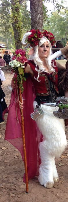A white female satyr costume for the Texas Renaissance festival