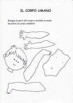 schede didattiche corpo umano scuola infanzia - Cerca con Google: Body Parts Preschool Activities, Preschool Body Theme, Toddler Activities, Activities For Kids, Montessori, Grande Section, Baby Play, Teaching English, Kindergarten