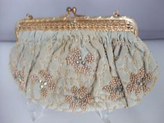 ale blue evening purse decorated with pearls, diamonte & crystals.