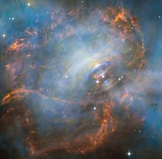 Peering deep into the core of the Crab Nebula, this close-up image reveals the beating heart of one of the most historic and intensively studied remnants of a supernova, an exploding star. The inner region sends out clock-like pulses of radiation and tsunamis of charged particles embedded in magnetic fields. The neutron star at the very center of the Crab Nebula has about the same mass as the sun but compressed into an incredibly dense sphere that is only a few miles across.  hbbl.us/jQBpf