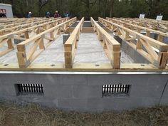 wood floors over slab foundation - Ecosia Building Foundation, House Foundation, Slab Foundation, Steel Framing, Floor Framing, Building Plans, Building A House, Timber Structure, Building Structure