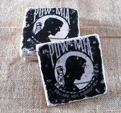 POW MIA Military Drink Coasters - Set Of 4 - Made From Chiaro Natural Stone by Nuvar Crafts on Gourmly