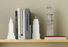 Skyline Bookends - White - Set of 2