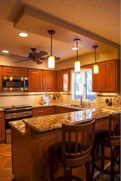58 Unique Kitchen Island Design Ideas For Home Kitchen Bar Design, Home Decor Kitchen, Kitchen Interior, New Kitchen, Home Kitchens, Kitchen Ideas, 10x10 Kitchen, Grey Kitchens, Luxury Kitchens