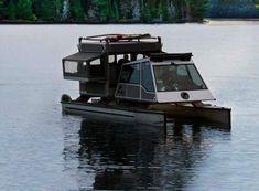 Pontoon Boat Pop Up Camper 02 Small Pontoon Boats, Pontoon Boat Seats, Pontoon Houseboat, Small Boats, Pontoon Stuff, Houseboat Ideas, Trailerable Houseboats, Small Houseboats, Ski Nautique