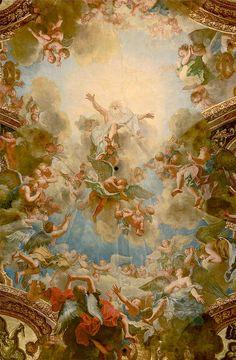 Almighty God the Father in the Chapelle Royale Versailles ceiling. Aesthetic Painting, Aesthetic Art, Rennaissance Art, Sistine Chapel Ceiling, Digital Foto, Greek Mythology Art, Art Ancien, Art Antique, Baroque Art