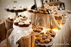 DEFINITELY doing varrying sized logs as cake stands, BUT with gold doilies under the pies!!!!!! <3