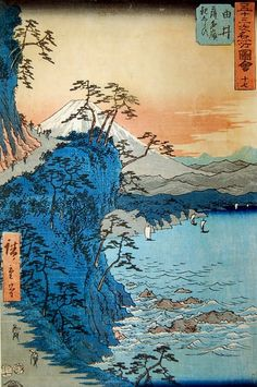 "orientalpaintings: """" Utagawa Hiroshige - Dangerous Surf below the Satta Pass near Yui "" "" Japanese Art Prints, Chinese Prints, Japanese Painting, Chinese Art, Korean Painting, Chinese Painting, Japan Illustration, Botanical Illustration, Landscape Photography"