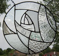 Clear stained glass window panel round abstract art glass stained glass panel window hanging geometric suncatcher