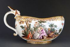 A rare Meissen Bourdalou with Figures of the Commedia dell'Arte after Lancret
