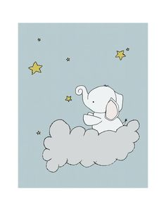 11x14 Elephant Nursery Art Print Nursery by SweetMelodyDesigns, $20.00 Cloud Nursery Decor, Clouds Nursery, Star Nursery, Nursery Ideas, Childrens Wall Art, Art Wall Kids, Art For Kids, Elephant Nursery Art, Baby Elephant
