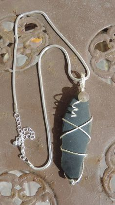 "Sea Glass Black Wire Wrapped Pendant Necklace 16 to 19"" Choker by RustyLark on Etsy"
