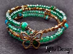 Memory wire bracelet with bronze, green, blue, and turquoise glass beads Diy Bracelets Easy, Memory Wire Bracelets, Beaded Bracelets, Turquoise Glass, Sell Items, Handmade Shop, Crystal Jewelry, Glass Beads, Bronze