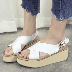 289df343ad49 Plain High Heeled Ankle Strap Peep Toe Office Outdoor Platform Sandals- Berrylook  PlatformSandals