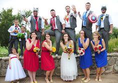 Superhero wedding party with props!  Everyone had so much fun!  The Hulk, Thor, Superman, Wonder Woman (*Bride and flower girl), Spiderman, Ironman, Captain America, Batman