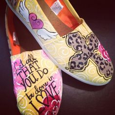 painted crosses on canvas | Hand painted Cross and scripture canvas shoes size 9 by Hazelace, $98 ...