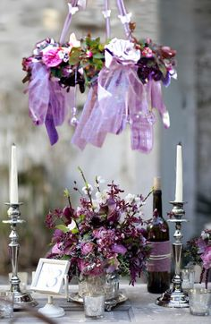 pretty purple, garden table decor
