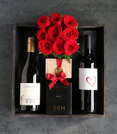 A duet of white and red wines selected for an evening of wining and dining: 'Wine Duet & Candlelight' by Winston Flowers. Valentines Diy, Valentine Day Gifts, Mens Bday Gifts, Winston Flowers, Gift Crates, Money Flowers, Send Flowers Online, Valentine's Day Gift Baskets, Flower Box Gift