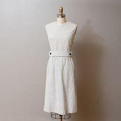 1960s Seersucker Dress with Jacket - Nautical Set - Deadstock