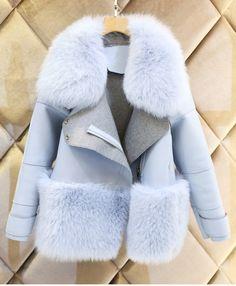 new womens blue fur collar Jacket Coat outwear wool blend trench winter parkas Winter Coats Women, Coats For Women, Jackets For Women, Clothes For Women, Winter Tops, Fur Fashion, Look Fashion, Winter Fashion, Fashion Women