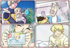 Queen Serenity and Cronos with baby Serenity