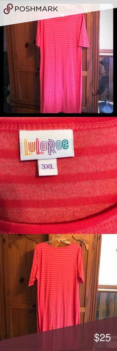 3x LuLaRoe Cassie Pretty coral striped Cassie in a 3X LuLaRoe Dresses Midi