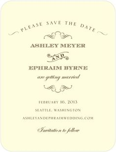 Signature Ecru Save the Date Cards Antique Chic - Front : Majestic