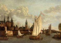 "Painting ""Capriccio Gezicht op Haarlem"" by Jacobus Storck"