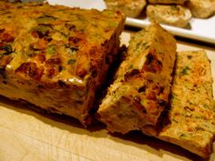Chicken and vege loaf - Low in fat, calories and carbs and high in protein, wheat and dairy free and very tasty! Serve with a salad for lunch or dinner, or wrap each slice in foil for a handy portable snack. http://katmillar.com/healthyrecipes/chicken-and-vege-loaf/