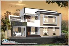 Simple and most trendy #contemporarymodeldesign. 1800sq ft two storey house,3 bedroom attached. Contact us #ContemporarymodelDesigninCochin #ContemporarymodelHouseplans http://www.kmhp.in/design/contemporary-style-elevation/