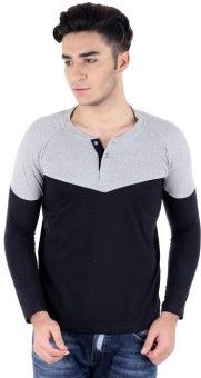 Bigidea Solid Men's Henley Grey, Black T-Shirt