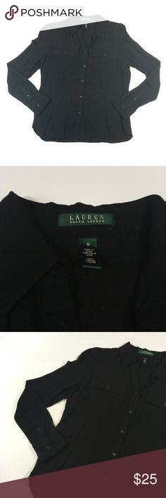 Lauren Ralph Lauren Black Button Down Medium Lauren Ralph Lauren. Size M. Black long sleeve button down. Measurements coming soon.  This piece was worn by my Aunt Only twice and taken very good care of. She has given it to me to sell for my cousin's upcoming baby. She's due in June and every little bit goes towards the baby. Lauren Ralph Lauren Tops Button Down Shirts