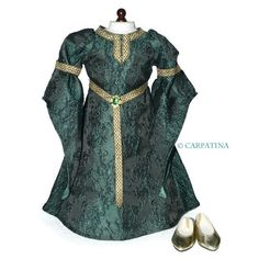 "Carpatina Celtic Princess Medieval Dress and Shoes fits 18"" American Girl Dolls"