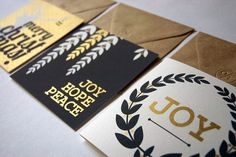 Golden Christmas Cards - Hand Screenprinted Pack of 3 Cards from One Lantern