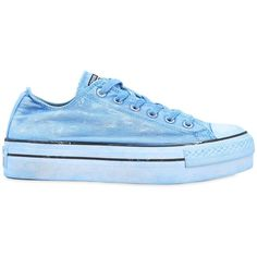 Converse Women 40mm Chuck Taylor Platform Sneakers ($195) ❤ liked on Polyvore featuring shoes, sneakers, light blue, platform shoes, eyelets shoes, rubber sole shoes, light blue shoes and converse shoes