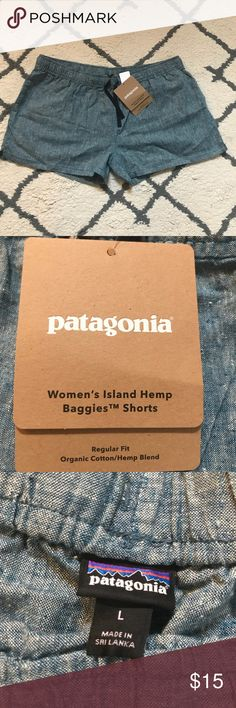 Patagonia chambray shorts 🆕 with tags Patagonia Women's Island Hemp Baggies Shorts. Made from an organic cotton and hemp blend with pockets and a drawstring waist band. I ordered these in a size large and they didn't fit, I reordered in my correct size and have loved wearing them! They are very comfortable and have a chambray look that made them a great alternative to denim jeans. Patagonia Shorts