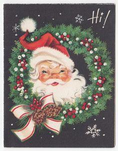 Vintage Greeting Card Christmas Santa Claus Wreath Hi! Mid-Century