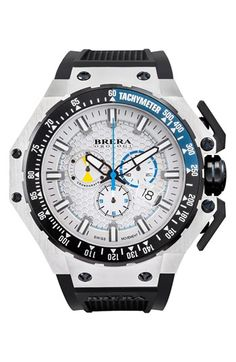Brera 'Gran Turismo' Chronograph Silicone Strap Watch, 54mm available at #Nordstrom